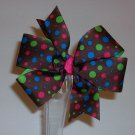 Brown w/Colorful Dots Large Boutique Bow