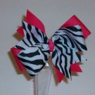 "Pink and Zebra Large 1.5"" Boutique Bow"