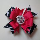 Zebra Minnie Bottle Cap Bow
