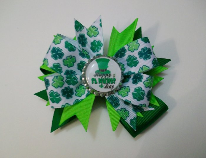 St. Patrick's Day Bottle Cap Bow