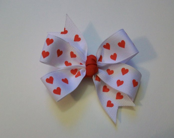 Red Hearts Medium Boutique Bow