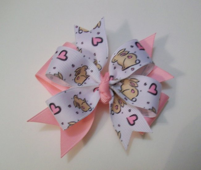 Bunny Print Large Boutique Bow