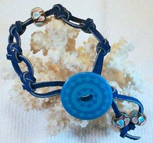 Blue Suede Leather Bracelet.  Check Our Store twodotts.ecrater.com