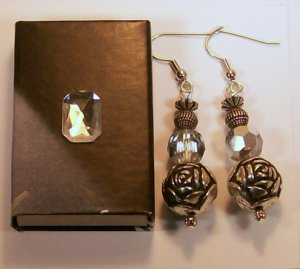 1 Pair silver colored rose bead Ear Rings.  Check Our Store twodotts.ecrater.com