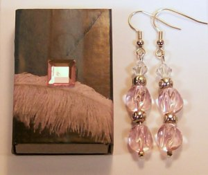 1 Pair  Pale Pink Beaded Ear Rings.  Check Our Store twodotts.ecrate.com
