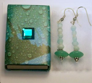 1 Pair Pale Green & Blue Ear Rings.  Check Our Store. twodotts.ecrater.com