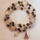 Dark Gray & Crystal Memory Wire Bracelet with EIFEL TOWER CHARM.