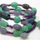 Lavender, Green & Purple Memory Wire bracelet Visit Our Store twodotts.ecrater.com