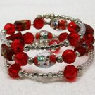 Red beaded Memory Wire Bracelet.. Visit Our Store twodotts.ecrater.com