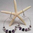 Purple beaded hoop ear rings.  Visit Our Store twodotts.ecrater.com