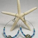 Blue Swirl Beaded Hoop ear rings.  Visit Our Store twodotts.ecrater.com