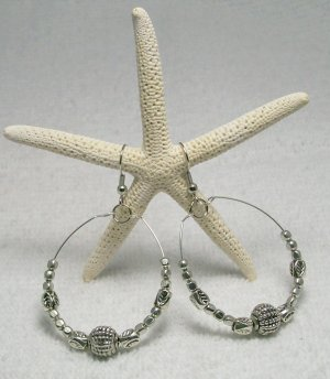 Silver Tone Beaded Hoop ear rings.  Visit Our Store twodotts.ecrater.com