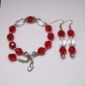 Ruby Red & Crystal color Bracelet & Ear Ring Set