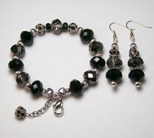 Jet Black & Smoke color beaded bracelet & Ear Ring Set