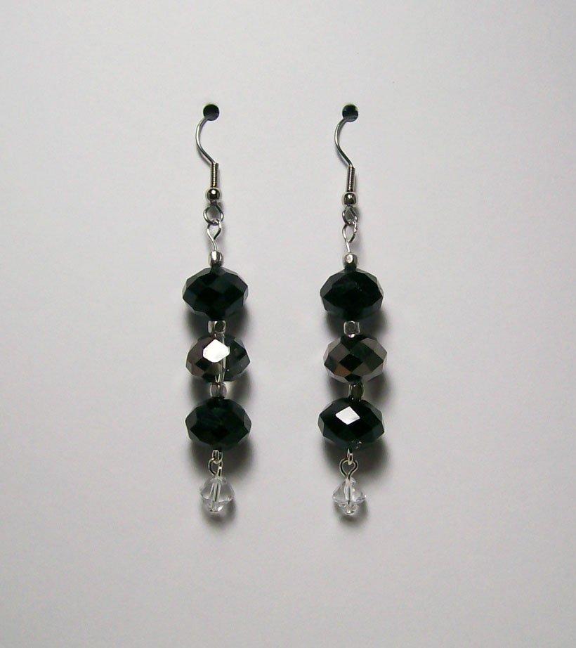 Jet Black & Smoke color beaded Ear Rings