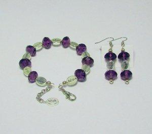 Purple & Silver color Bracelet & Ear Ring Set.
