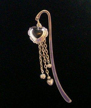 Mini Bookmark with heart charm.