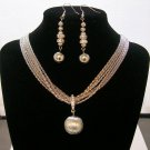 Silver tone Necklace & Ear ring Set.