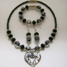 Black & Silver tone heart necklace, ear rings & bracelet set.