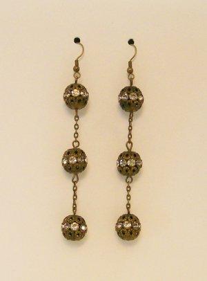 Antique Brass & Rhinestone fashion ear rings