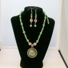 Green & Silver beaded necklace with pendant and  matching ear rings.