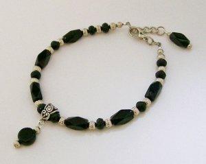 Black beaded ankle bracelet