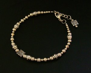 Ankle Bracelet with Silvertone beads.