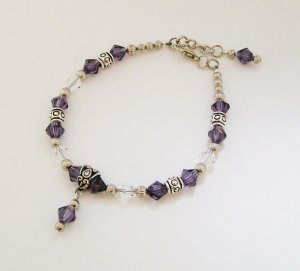 Ankle Bracelet with Purple & Silvertone beads.
