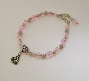 Ankle Bracelet with Pale Pink beads & Silvertone accents.