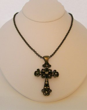 Antique Brass Cross necklace with bead accents.  Check our store twodotts.ecrater.com
