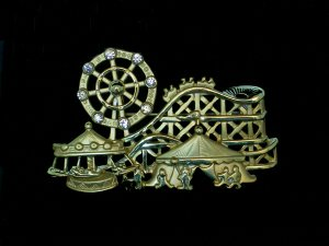 CARNIVAL PIN with ferris wheel and roller coaster.
