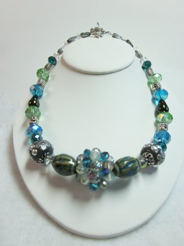 Green & Blue beaded necklace