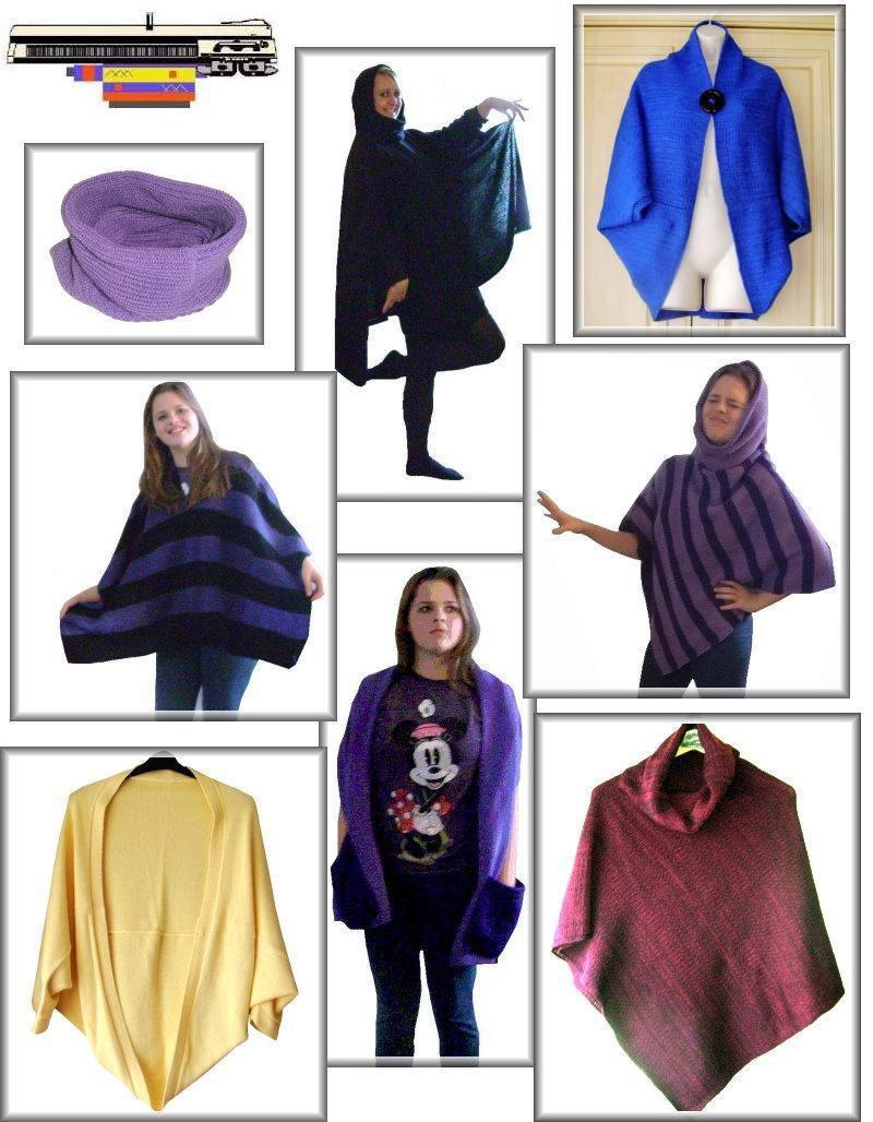 easy knit Poncho Shrug Ruana & Afghan knitting machine patterns on ...