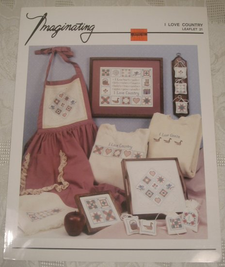 IMAGINATING I LOVE COUNTRY CROSS STITCH LEAFLET *SHIPS FREE*