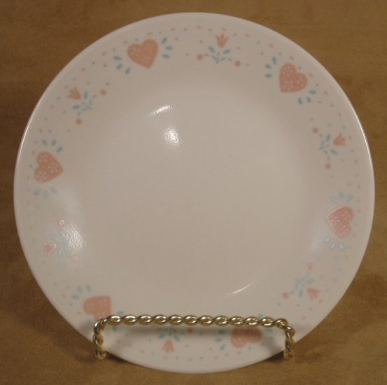 CORELLE FOREVER YOURS DESSERT PLATES PEACH HEARTS