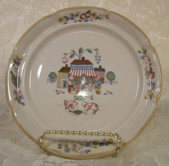 INTERNATIONAL CHINA HEARTLAND VILLAGE DESSERT PLATES SET OF 4