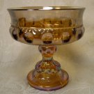 INDIANA KINGS CROWN THUMBPRINT CARNIVAL GLASS COMPOTE