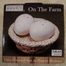 SAKURA ONEIDA ON THE FARM SALT & PEPPER EGGS IN BASKET *NIB*