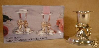 SILVER PLATED CANDLE HOLDERS W/GOLDEN BOW *NIB*