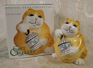 FITZ & FLOYD SPECIAL-TEAS CAT WITH BIRD BANK *NIB* 2003 *SHIPS FREE*