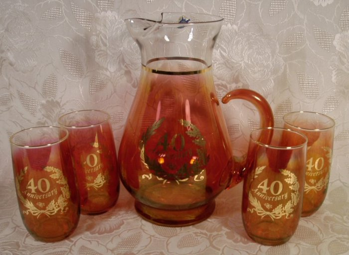 WEST VIRGINIA GLASS 5 PC. CRANBERRY BEVERAGE SET 40TH
