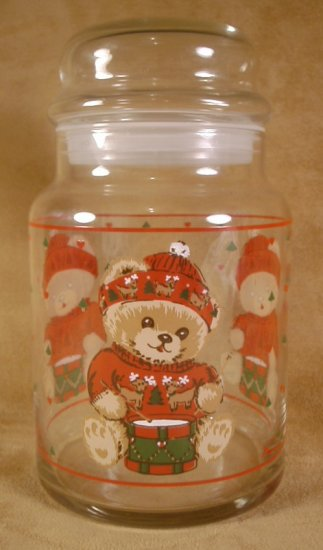 TIENSHAN CHRISTMAS THEODORE COUNTRY BEAR GLASS CANISTER