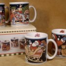 SUSAN WINGET FOLK ART SANTA COLLECTION MUGS 1993 *NIB*