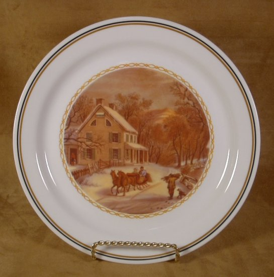 CORELLE COLLECTOR'S COURIER & IVES DINNER PLATE SLEIGH
