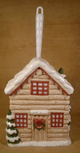 HOME BAZAAR LOG HOUSE CERAMIC TOILET BRUSH HOLDER *NEW