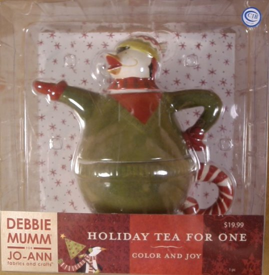 DEBBIE MUMM COLOR AND JOY HOLIDAY TEA FOR ONE TEAPOT