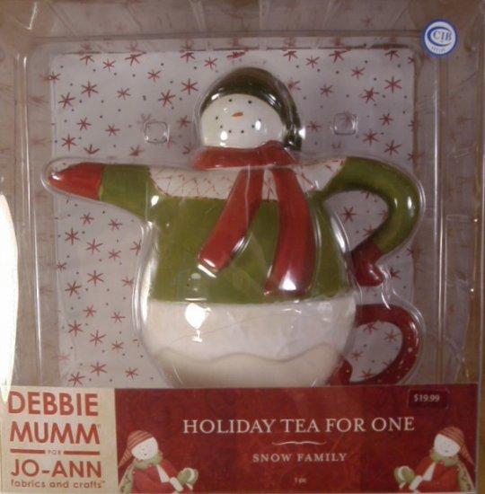 DEBBIE MUMM SNOW FAMILY HOLIDAY TEA FOR ONE TEAPOT *NIB