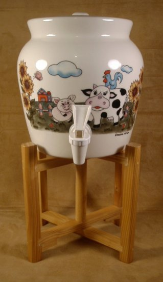 COUNTRY FARM ANIMALS  STONEWARE BEVERAGE DISPENSER W/WOODEN STAND