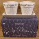 LONGABERGER EARLY BLOSSOMS 3 PC FLOWER POTS & TRAY *NIB
