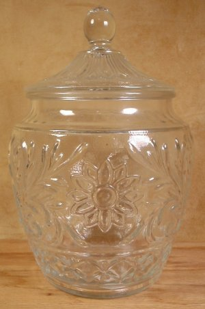 ANCHOR HOCKING SANDWICH CLEAR GLASS COOKIE JAR CANISTER